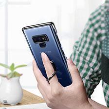 Silikon Hülle Handyhülle Rahmen Schutzhülle Durchsichtig Transparent Spiegel 360 Grad mit Magnetisch Fingerring Ständer für Samsung Galaxy Note 9 Schwarz