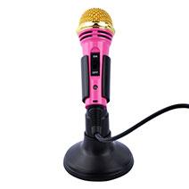 Mini-Stereo-Mikrofon Mic 3.5 mm Klinkenbuchse Mit Stand M07 Rosa