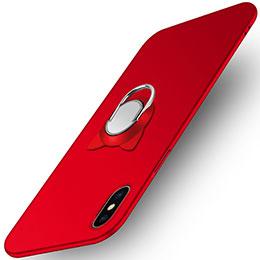 Handyhülle Hülle Kunststoff Schutzhülle Matt mit Fingerring Ständer R03 für Apple iPhone Xs Max Rot