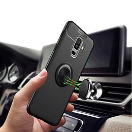 Silikon Hülle Handyhülle Ultra Dünn Schutzhülle Silikon mit Magnetisch Fingerring Ständer A03 für Samsung Galaxy A9 Star Lite Schwarz