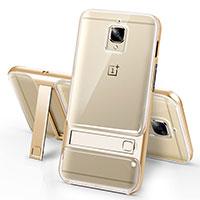 Silikon Hülle Handyhülle Ultra Dünn Schutzhülle Durchsichtig Transparent mit Ständer für OnePlus 3 Gold