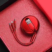 Lightning USB Ladekabel Kabel Android Micro USB C09 für Apple iPhone 11 Pro Rot