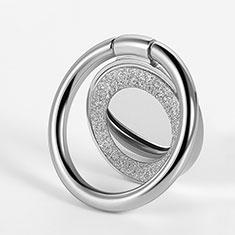 Fingerring Ständer Magnetische Smartphone Halter Halterung Universal Z15 für LG L Bello 2 Silber