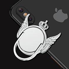 Fingerring Ständer Smartphone Halter Halterung Universal S01 für Xiaomi Mi 9 Pro Silber