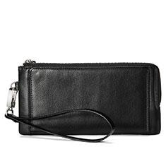 Handtasche Clutch Handbag Hülle Leder Universal Schwarz