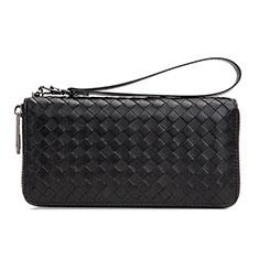 Handtasche Clutch Handbag Leder Diamant Universal H15 für Nokia 8110 2018 Schwarz