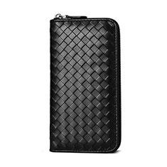 Handtasche Clutch Handbag Leder Gewebtes Universal für Huawei Mate 30 Schwarz