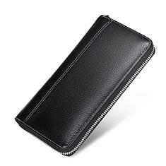 Handtasche Clutch Handbag Leder Lichee Pattern Universal H36 Schwarz