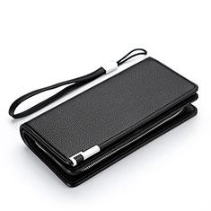 Handtasche Clutch Handbag Leder Lichee Pattern Universal H37 Schwarz