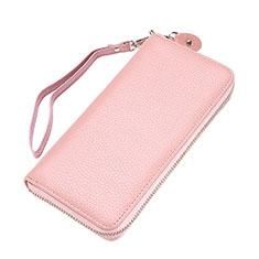 Handtasche Clutch Handbag Leder Lichee Pattern Universal für Xiaomi Mi 10 Ultra Rosa