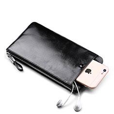 Handtasche Clutch Handbag Schutzhülle Leder Universal H08 für Nokia 8110 2018 Schwarz