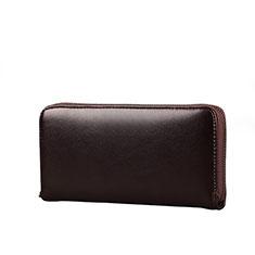 Handtasche Clutch Handbag Schutzhülle Leder Universal H10 für Nokia 8110 2018 Braun