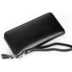 Handtasche Clutch Handbag Schutzhülle Leder Universal H13 für Nokia 8110 2018 Schwarz
