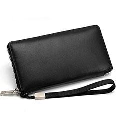 Handtasche Clutch Handbag Schutzhülle Leder Universal H18 für Huawei Mate 30 Schwarz