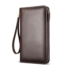 Handtasche Clutch Handbag Schutzhülle Leder Universal H19 für Huawei Mate 30 Braun