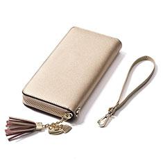 Handtasche Clutch Handbag Schutzhülle Leder Universal H24 für Nokia 8110 2018 Gold
