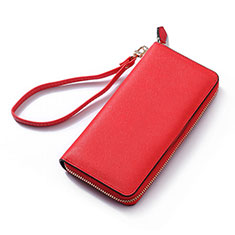 Handtasche Clutch Handbag Schutzhülle Leder Universal H26 für Nokia 8110 2018 Rot
