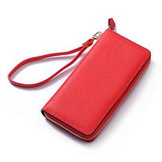 Handtasche Clutch Handbag Schutzhülle Leder Universal H26 für Xiaomi Mi 10 Ultra Rot