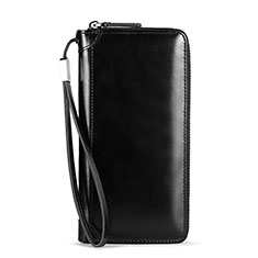 Handtasche Clutch Handbag Schutzhülle Leder Universal H32 für Nokia 8110 2018 Schwarz