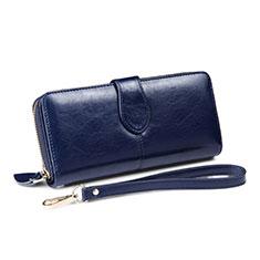 Handtasche Clutch Handbag Schutzhülle Leder Universal H33 für Nokia 8110 2018 Blau