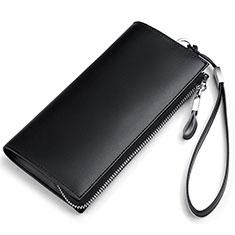 Handtasche Clutch Handbag Schutzhülle Leder Universal H34 für Nokia 8110 2018 Schwarz