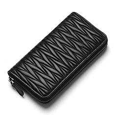 Handtasche Clutch Handbag Schutzhülle Leder Universal H35 für Nokia 8110 2018 Schwarz