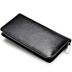 Handtasche Clutch Handbag Schutzhülle Leder Universal H39 für Nokia 8110 2018 Schwarz