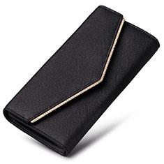 Handtasche Clutch Handbag Schutzhülle Leder Universal K03 für Motorola Moto G9 Plus Schwarz