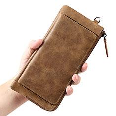 Handtasche Clutch Handbag Schutzhülle Leder Universal K04 für Motorola Moto G9 Plus Braun
