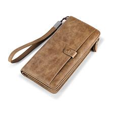 Handtasche Clutch Handbag Schutzhülle Leder Universal K06 für Motorola Moto G9 Plus Braun