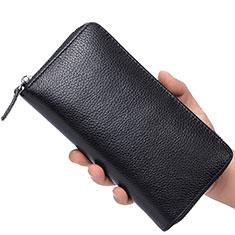 Handtasche Clutch Handbag Schutzhülle Leder Universal K07 für Motorola Moto G9 Plus Schwarz