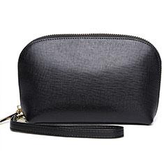 Handtasche Clutch Handbag Schutzhülle Leder Universal K08 für Motorola Moto G9 Plus Schwarz