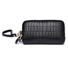 Handtasche Clutch Handbag Schutzhülle Leder Universal K09 für Motorola Moto G9 Plus Schwarz