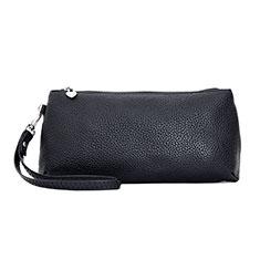 Handtasche Clutch Handbag Schutzhülle Leder Universal K12 für Motorola Moto G9 Plus Schwarz