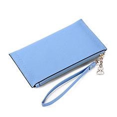 Handtasche Clutch Handbag Schutzhülle Leder Universal K15 für Motorola Moto G9 Plus Blau