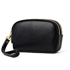 Handtasche Clutch Handbag Schutzhülle Leder Universal K16 für Motorola Moto G9 Plus Schwarz