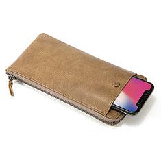 Handtasche Clutch Handbag Schutzhülle Leder Universal K17 für Xiaomi Mi 10 Ultra Orange