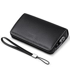 Handtasche Clutch Handbag Schutzhülle Leder Universal K19 für Motorola Moto G9 Plus Schwarz