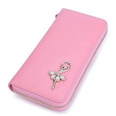 Handtasche Clutch Handbag Tasche Leder Dancing Girl Universal für Huawei Mate 30 Rosa