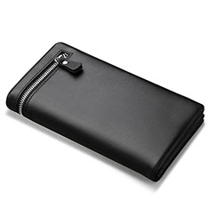Handtasche Clutch Handbag Tasche Leder Universal H06 für Nokia 8110 2018 Schwarz