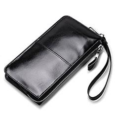 Handtasche Clutch Handbag Tasche Leder Universal H07 für Nokia 8110 2018 Schwarz