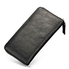 Handtasche Clutch Handbag Tasche Leder Universal H09 für Nokia 8110 2018 Schwarz