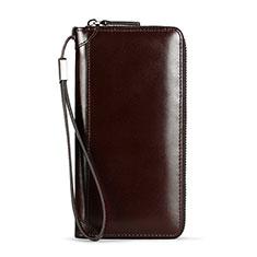 Handtasche Clutch Handbag Tasche Leder Universal H11 für Nokia 8110 2018 Braun