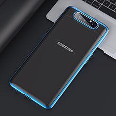 Handyhülle Hülle Crystal Tasche Schutzhülle H01 für Samsung Galaxy A80 Blau
