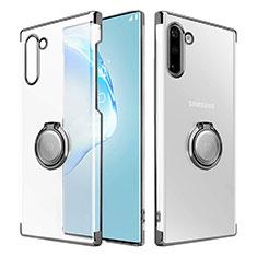 Handyhülle Hülle Crystal Tasche Schutzhülle mit Magnetisch Fingerring Ständer für Samsung Galaxy Note 10 Schwarz