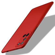 Handyhülle Hülle Hartschalen Kunststoff Schutzhülle Tasche Matt M01 für Oppo A52 Rot