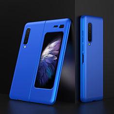 Handyhülle Hülle Hartschalen Kunststoff Schutzhülle Tasche Matt M01 für Samsung Galaxy Fold Blau