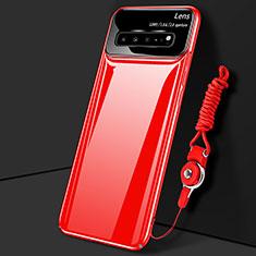 Handyhülle Hülle Hartschalen Kunststoff Schutzhülle Tasche Matt M01 für Samsung Galaxy S10 5G SM-G977B Rot
