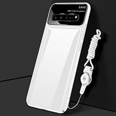 Handyhülle Hülle Hartschalen Kunststoff Schutzhülle Tasche Matt M01 für Samsung Galaxy S10 5G SM-G977B Weiß