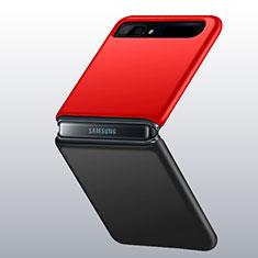 Handyhülle Hülle Hartschalen Kunststoff Schutzhülle Tasche Matt M01 für Samsung Galaxy Z Flip 5G Rot und Schwarz